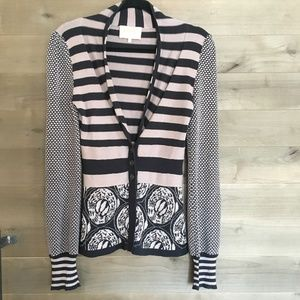 LIA MOLLY Anthro Stripe Print Cardigan Sweater Top